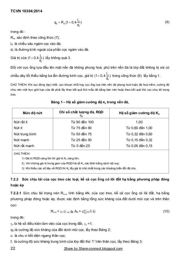 TCVN 10304:2014 22   d b m f l q R (1 0,4 ) d (9) trong đó : Rm xác định theo công thức (7); ld là chiều sâu ngàm cọc và...