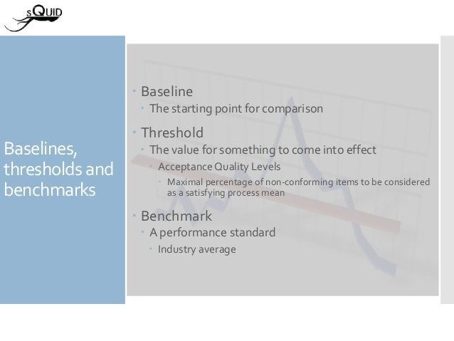 Baselines, thresholds and benchmarks  Baseline  The starting point for comparison  Threshold  The value for something ...