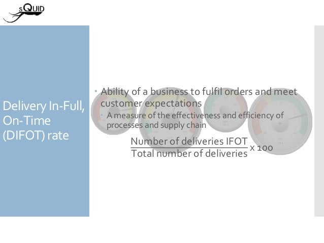 Delivery In-Full, On-Time (DIFOT) rate  Ability of a business to fulfil orders and meet customer expectations  A measure...