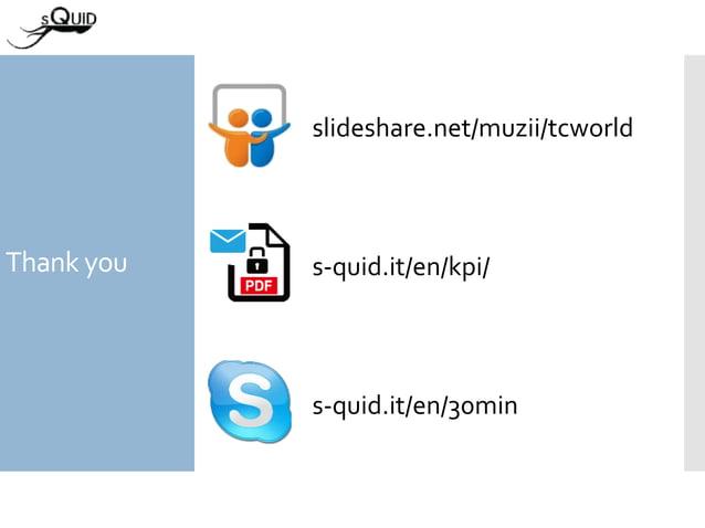 Thank you s-quid.it/en/30min slideshare.net/muzii/tcworld s-quid.it/en/kpi/