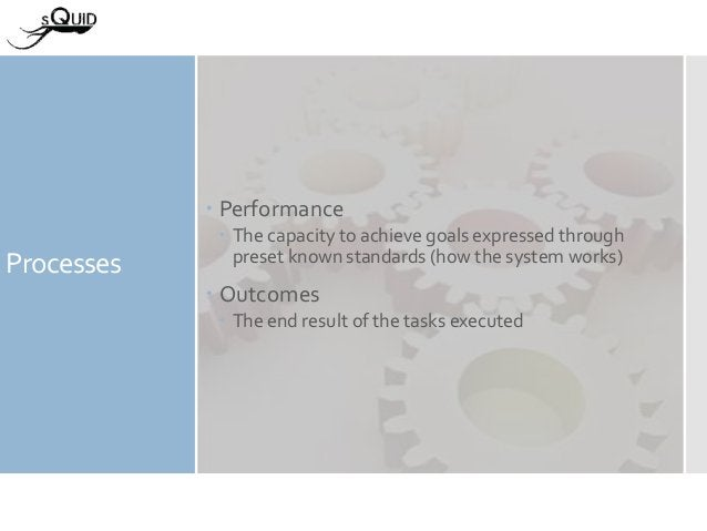 Processes  Performance  The capacity to achieve goals expressed through preset known standards (how the system works)  ...