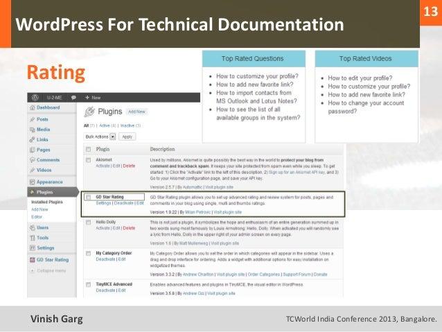13                                                                     1  WordPress For Technical Documentation    RatingT...