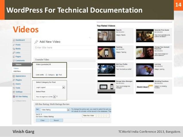 14  WordPress For Technical Documentation     VideosText Vinish Garg                TCWorld India Conference 2013, Bangalo...