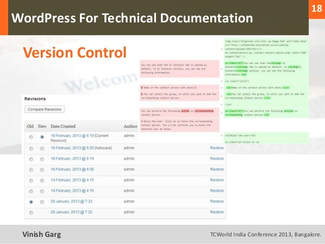 18  WordPress For Technical Documentation     Version ControlText Vinish Garg                TCWorld India Conference 2013...