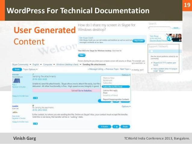 19  WordPress For Technical Documentation     User Generated     ContentText Vinish Garg                TCWorld India Conf...
