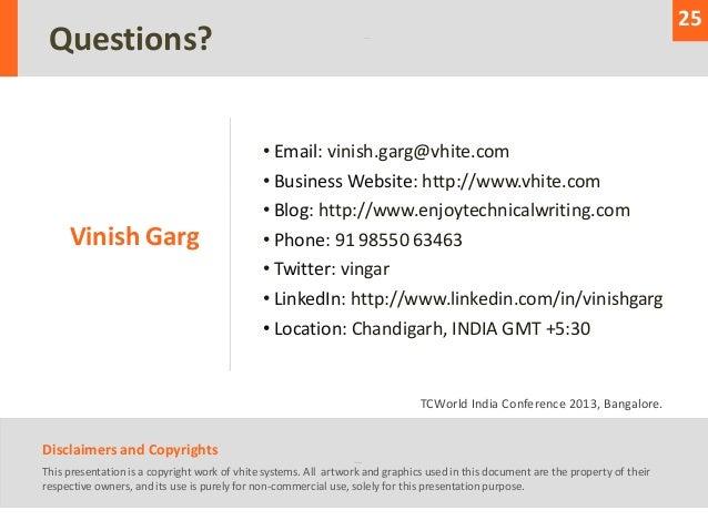 25 Questions?                                              • Email: vinish.garg@vhite.com                                 ...
