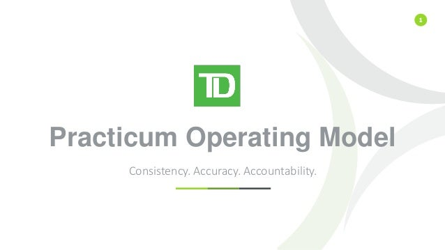 1 Practicum Operating Model Consistency. Accuracy. Accountability.