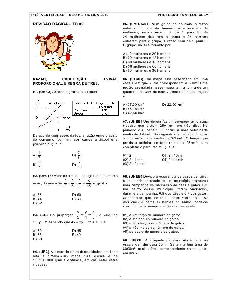 PRÉ- VESTIBULAR – GEO PETROLINA 2012                                        PROFESSOR CARLOS CLEYREVISÃO BÁSICA – TD 02   ...