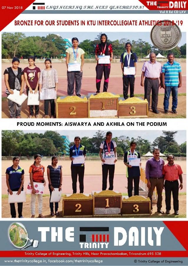 BRONZE FOR OUR STUDENTS IN KTU INTERCOLLEGIATE ATHL PROUD MOMENTS: AISWARYA AND AKHILA ON THE PODIUM IJH G gjt DflllYTrini...