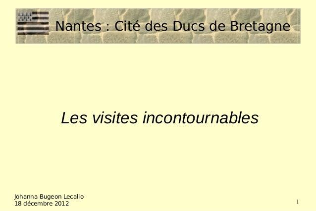 Nantes: Cité des Ducs de Bretagne              Les visites incontournablesJohanna Bugeon Lecallo18 décembre 2012         ...