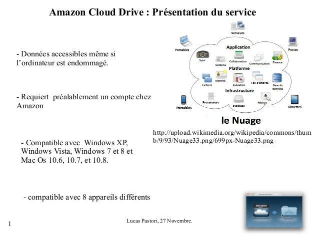 Amazon Cloud Drive : Présentation du service  - Données accessibles même si l'ordinateur est endommagé.  - Requiert préala...