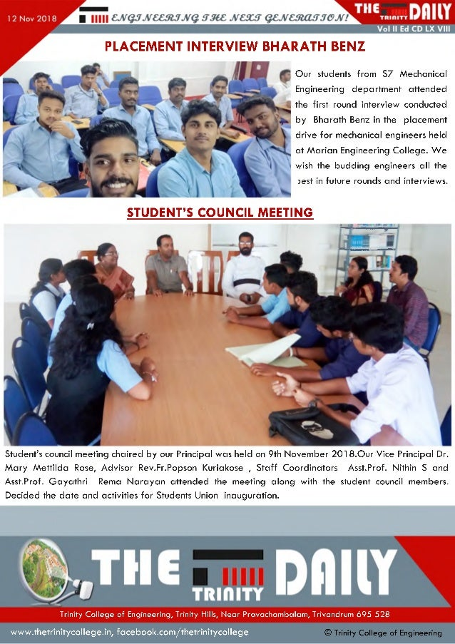 PLACEMENT INTERVIEW BHARATH BENZ Our students from S7 Mechanical Engineering department attended the first round interview...