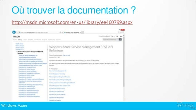Où trouver la documentation ?     http://msdn.microsoft.com/en-us/library/ee460799.aspxWindows Azure