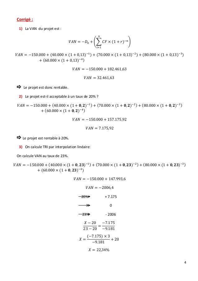 4 Corrigé : 1) La VAN du projet est : 𝑉𝐴𝑁 = −𝐷0 + (∑ 𝐶𝐹 × (1 + 𝑟)−𝑛 𝑛 𝑖=1 ) 𝑉𝐴𝑁 = −150.000 + (40.000 × (1 + 0,13)−1) + (70...