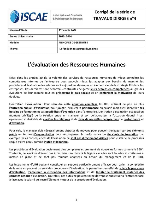 L'évaluation des Ressources Humaines Nées dans les années 80 de la volonté des services de ressources humaines de mieux co...