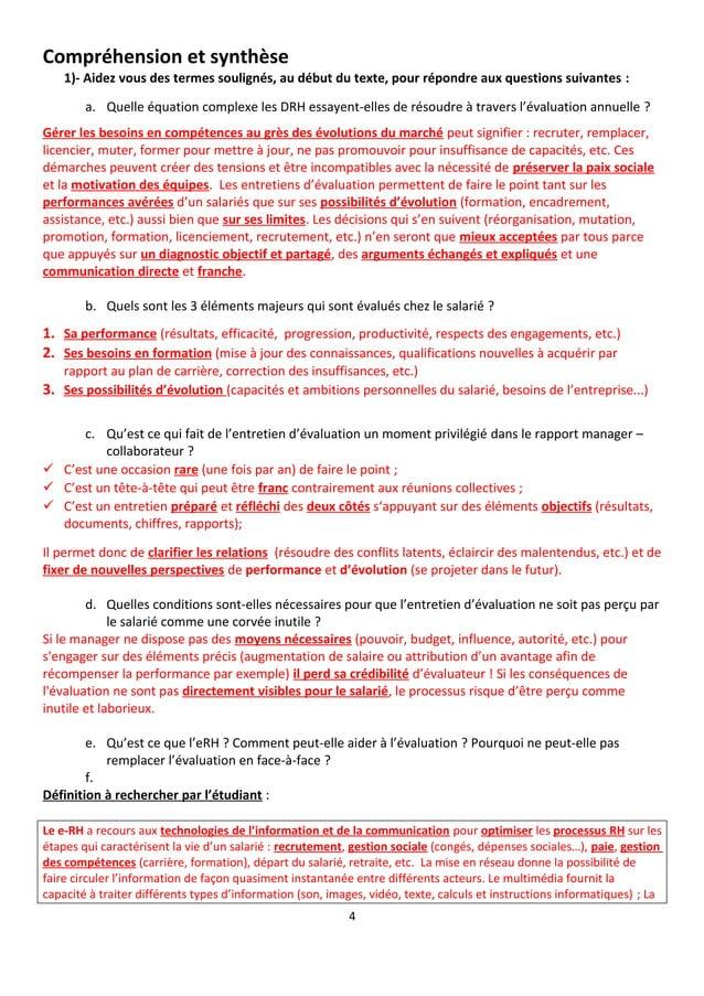 Compréhension et synthèse 1)- Aidez vous des termes soulignés, au début du texte, pour répondre aux questions suivantes : ...