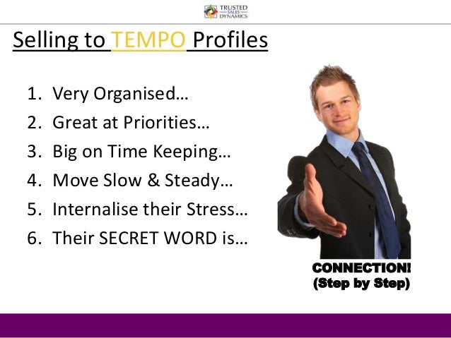 Selling to TEMPO Profiles  1. Very Organised…  2. Great at Priorities…  3. Big on Time Keeping…  4. Move Slow & Steady…  5...