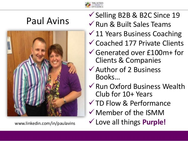  Selling B2B & B2C Since 19   Run & Built Sales Teams   11 Years Business Coaching  Coached 177 Private Clients  Gene...