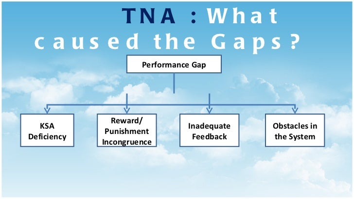 TNA :  What caused the Gaps? Performance Gap KSA Deficiency Reward/ Punishment Incongruence Inadequate Feedback Obstacles ...