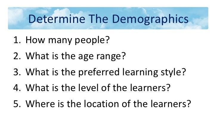 Determine The Demographics <ul><li>How many people? </li></ul><ul><li>What is the age range? </li></ul><ul><li>What is the...