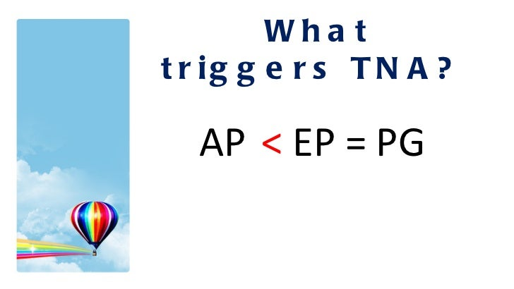 What triggers TNA? AP   <  EP = PG