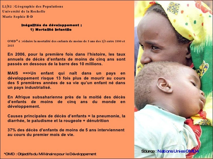L1/S2 : Géographie des Populations Université de la Rochelle Marie Sophie B-D Inégalités de développement : 1) Mortalité i...