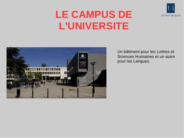 LE CAMPUS DE L'UNIVERSITE Un bâtiment pour les Lettres et Sciences Humaines et un autre pour les Langues.