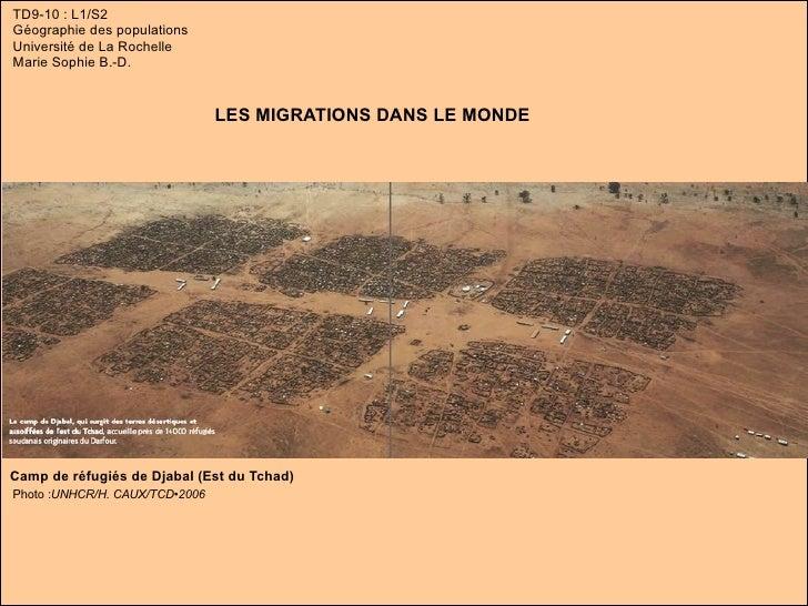 TD9-10 : L1/S2 Géographie des populations Université de La Rochelle Marie Sophie B.-D. LES MIGRATIONS DANS LE MONDE Camp d...
