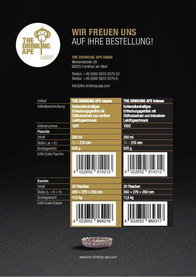 WIR FREUEN UNS  AUF IHRE BESTELLUNG!  THE DRINKING APE GMBH  Westendstraße 28  60325 Frankfurt am Main  Telefon: +49 ...