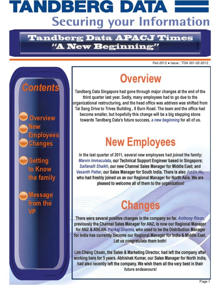 Feb 2012 ● Issue : TDA 001-02-2012Contents Overview New Employees Changes Getting to Know the family Message from the VP  ...