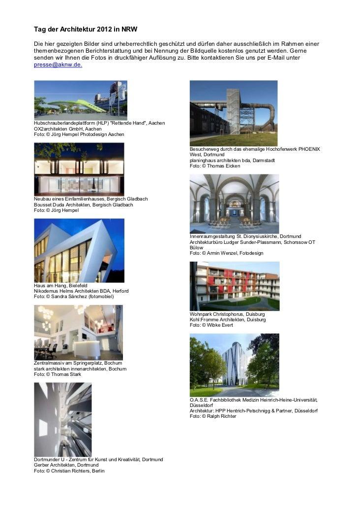 Tag der Architektur 2012 in NRWDie hier gezeigten Bilder sind urheberrechtlich geschützt und dürfen daher ausschließlich i...