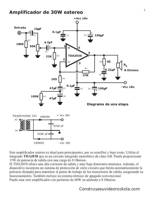 1 Diagrama de una etapa + - TDA2030 1 5 3 2 4 RL 8 Ohmios Entrada +Vcc 18v 47K 100 F 1 0.1 F 100 F 0.22 F -Vcc 18v47 F 22K...