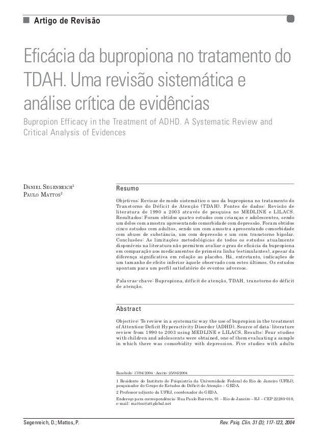 n Artigo de Revisão  Eficácia da bupropiona no tratamento do TDAH. Uma revisão sistemática e análise crítica de evidências...