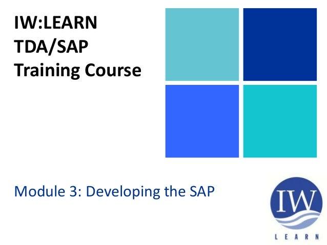 IW:LEARN TDA/SAP Training Course Module 3: Developing the SAP