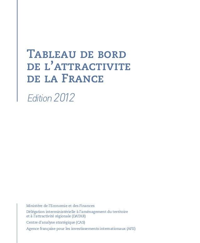 Tableau de bordde l'attractivitede la FranceMinistère de l'Economie et des FinancesDélégation interministérielle à l'aména...