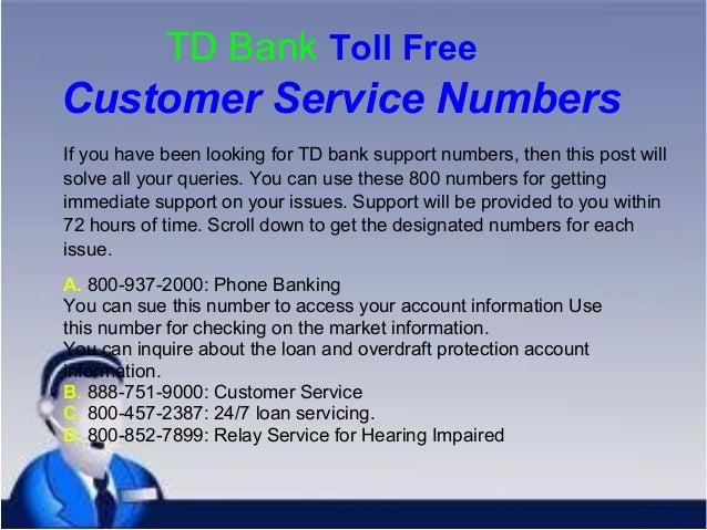 TD Bank Customer Service Number