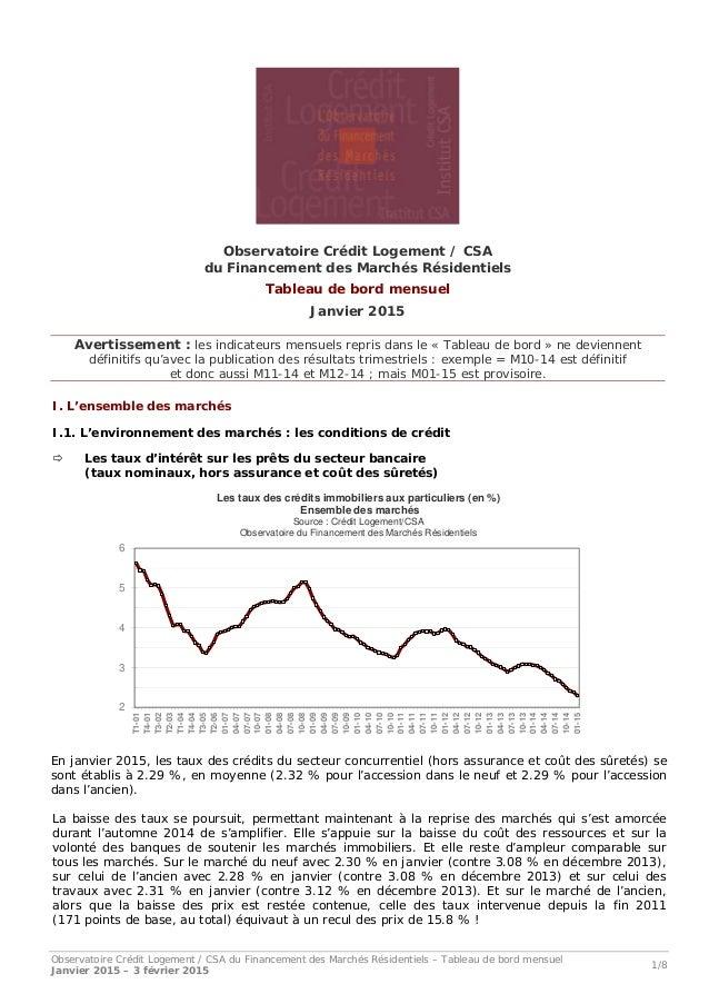 Observatoire Crédit Logement / CSA du Financement des Marchés Résidentiels – Tableau de bord mensuel Janvier 2015 – 3 févr...