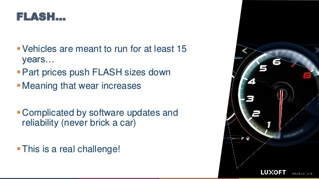 FLASH…  Vehicles are meant to run for at least 15 years…  Part prices push FLASH sizes down  Meaning that wear increase...