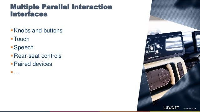 Multiple Parallel Interaction Interfaces  Knobs and buttons  Touch  Speech  Rear-seat controls  Paired devices  …