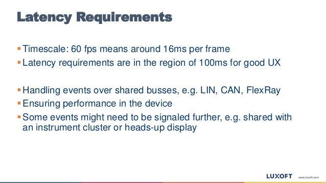 Latency Requirements  Timescale: 60 fps means around 16ms per frame  Latency requirements are in the region of 100ms for...
