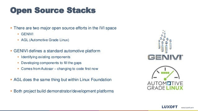 Open Source Stacks  There are two major open source efforts in the IVI space  GENIVI  AGL (Automotive Grade Linux)  GE...
