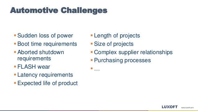 Automotive Challenges  Length of projects  Size of projects  Complex supplier relationships  Purchasing processes  … ...