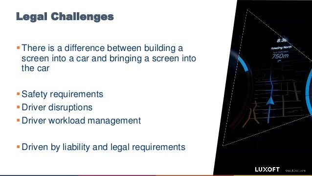Legal Challenges  There is a difference between building a screen into a car and bringing a screen into the car  Safety ...