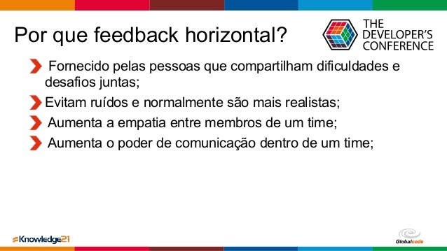 Globalcode – Open4education Por que feedback horizontal? Fornecido pelas pessoas que compartilham dificuldades e desafios ...