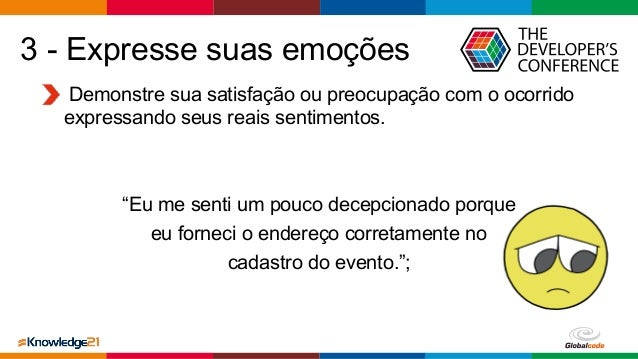 Globalcode – Open4education 3 - Expresse suas emoções Demonstre sua satisfação ou preocupação com o ocorrido expressando s...