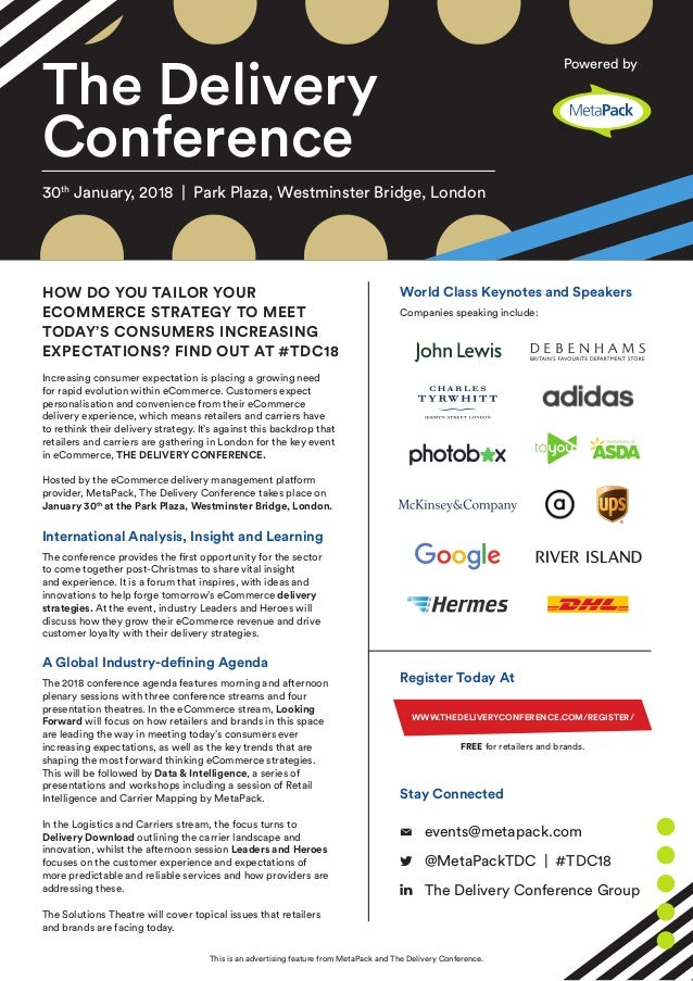 The Delivery Conference HOW DO YOU TAILOR YOUR ECOMMERCE STRATEGY TO MEET TODAY'S CONSUMERS INCREASING EXPECTATIONS? FIND ...