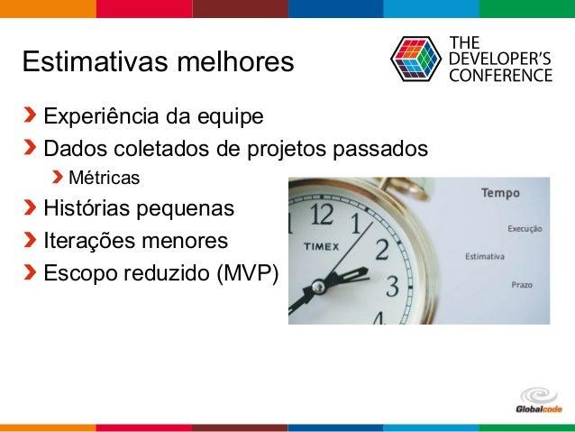 Globalcode – Open4education Estimativas melhores Experiência da equipe Dados coletados de projetos passados Métricas Histó...