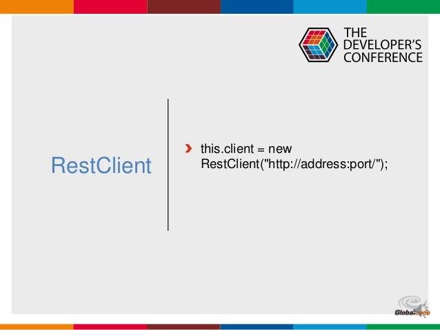 "Globalcode – Open4education RestClient this.client = new RestClient(""http://address:port/"");"