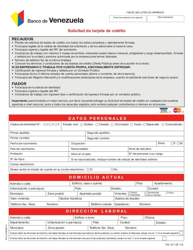 modelo de planilla de solicitud de tarjeta de credito del banco de venezuela