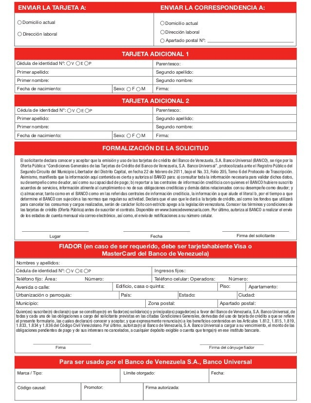 planilla para tarjeta de credito banco venezuela On planilla de solicitud de tarjeta de credito banco bicentenario